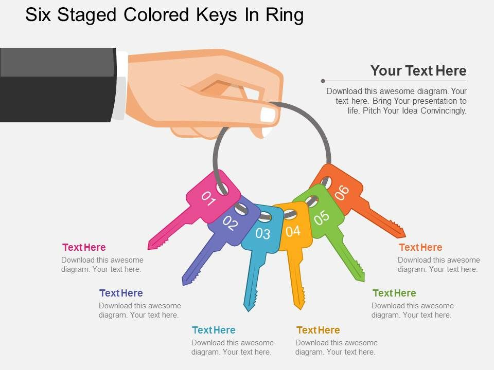 qm_six_staged_colored_keys_in_ring_flat_powerpoint_design_Slide01