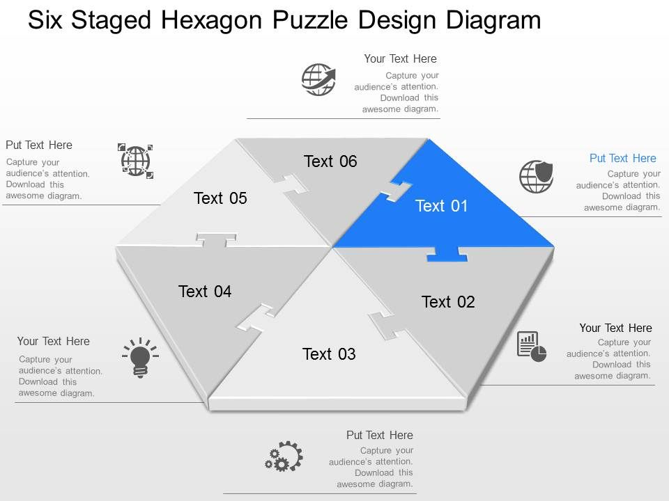 qs Six Staged Hexagon Puzzle Design Diagram Powerpoint Template ...