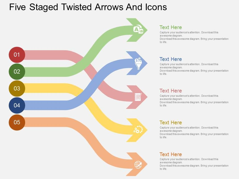 qu_five_staged_twisted_arrows_and_icons_flat_powerpoint_design_Slide01