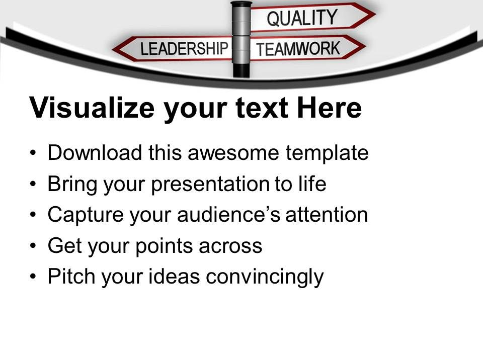 quality teamwork leadership signpost powerpoint templates ppt