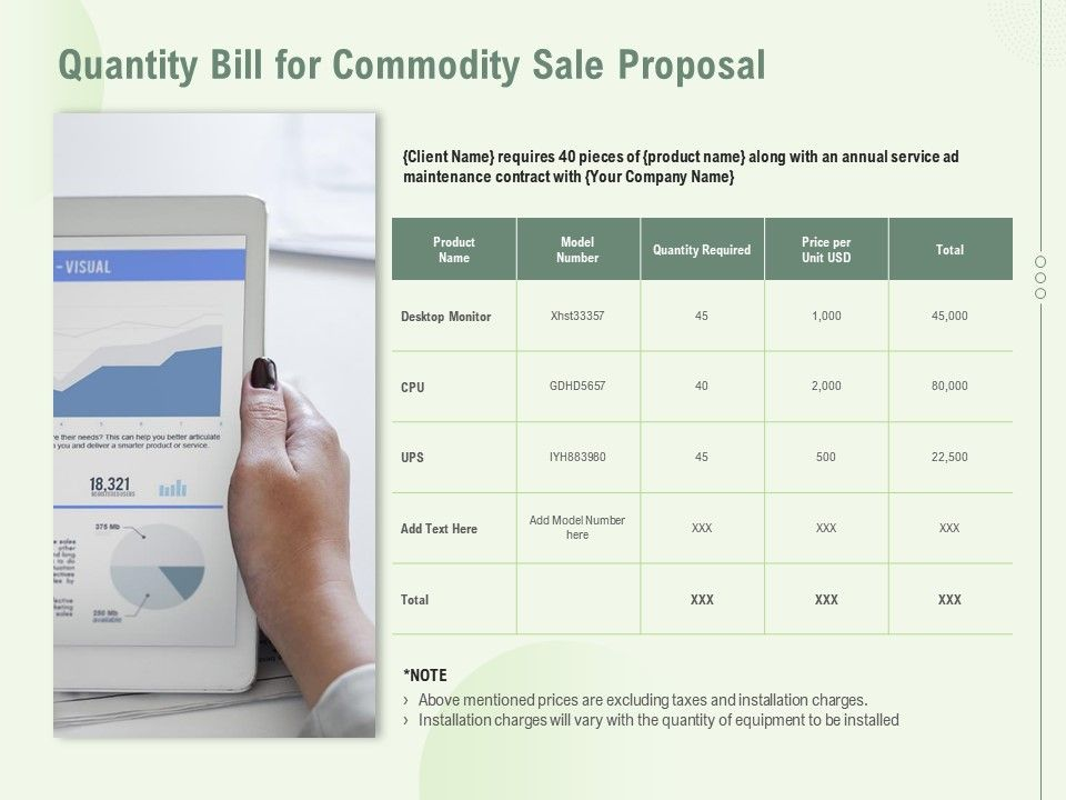 Quantity Bill For Commodity Sale Proposal Ppt Powerpoint Presentation Infographic