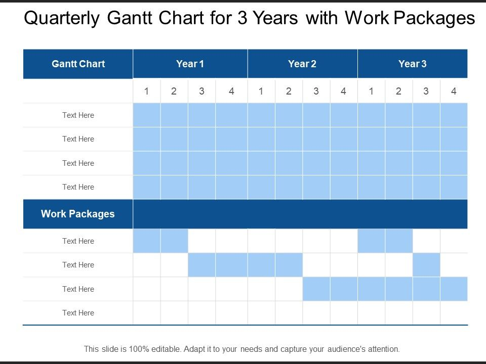 Quarterly Gantt Chart For 3 Years With Work Packages