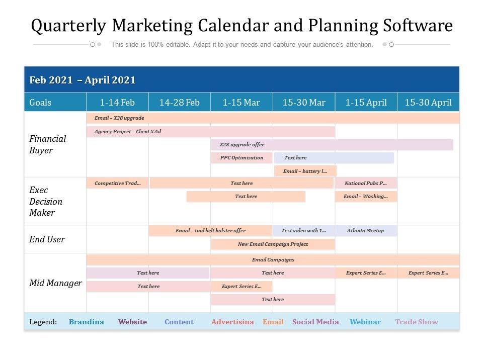 Quarterly Marketing Calendar And Planning Software