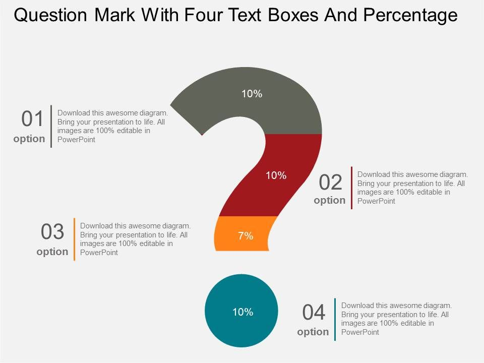 powerpoint questions and answers template - question mark with four text boxes and percentage