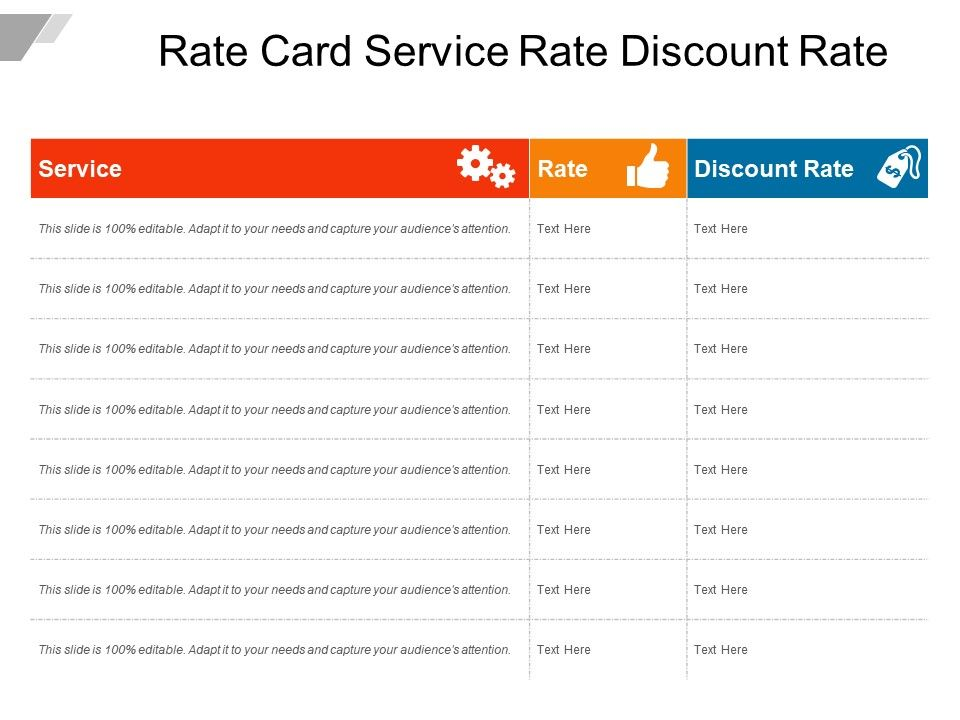 Rate Card Service Rate Discount Rate | PowerPoint Slide Images | PPT ...