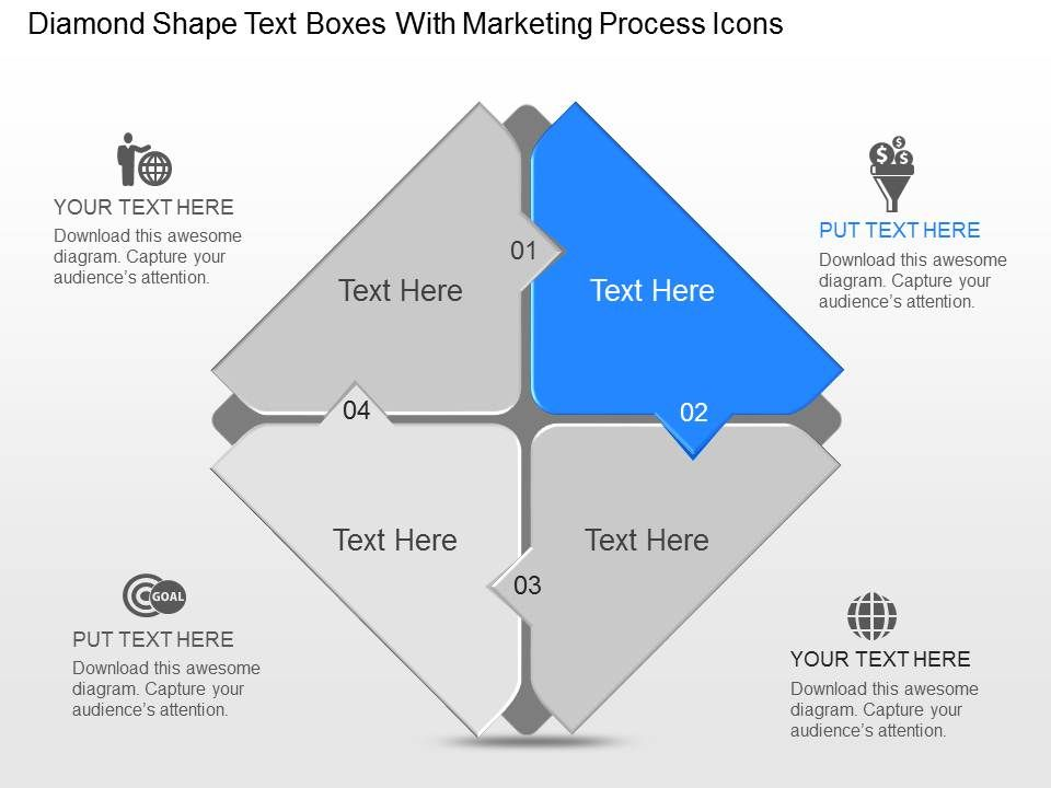 Rd Diamond Shape Text Boxes With Marketing Process Icons