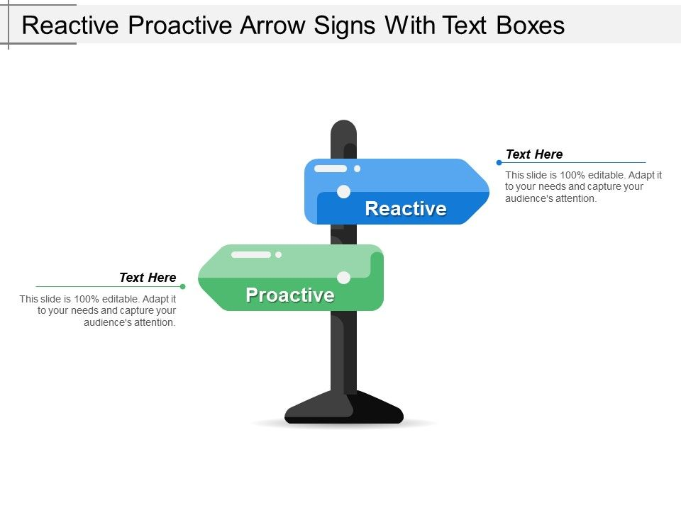 reactive proactive arrow signs with text boxes