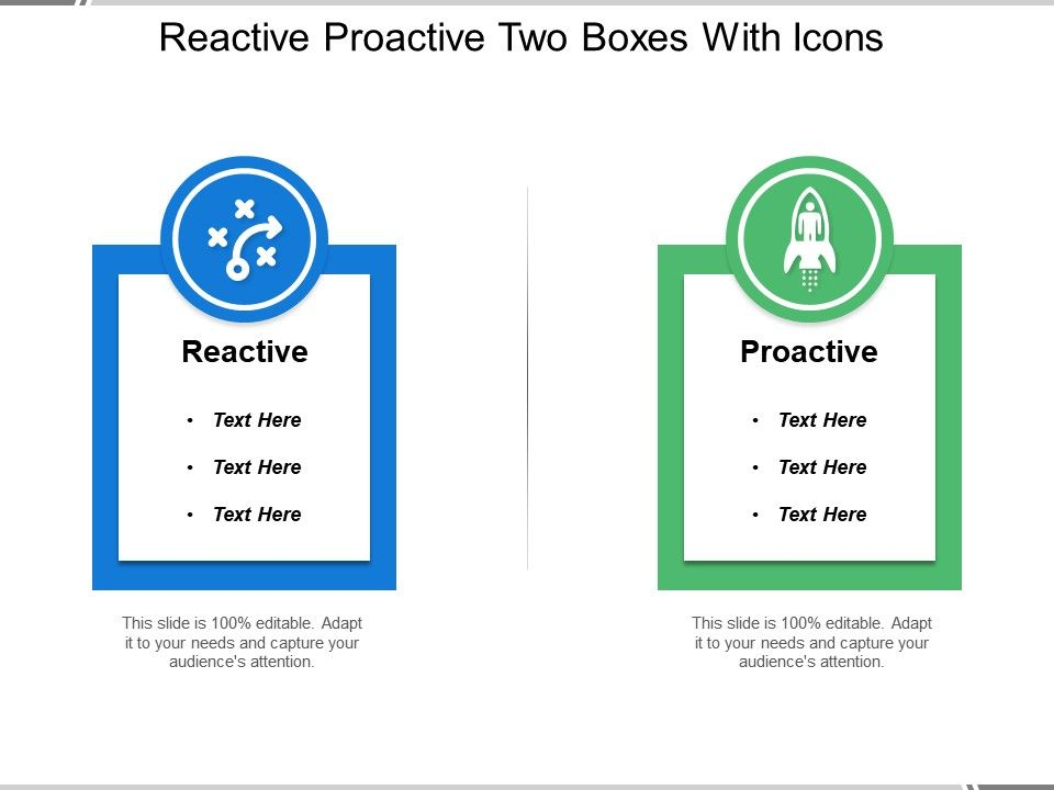 reactive proactive two boxes with icons