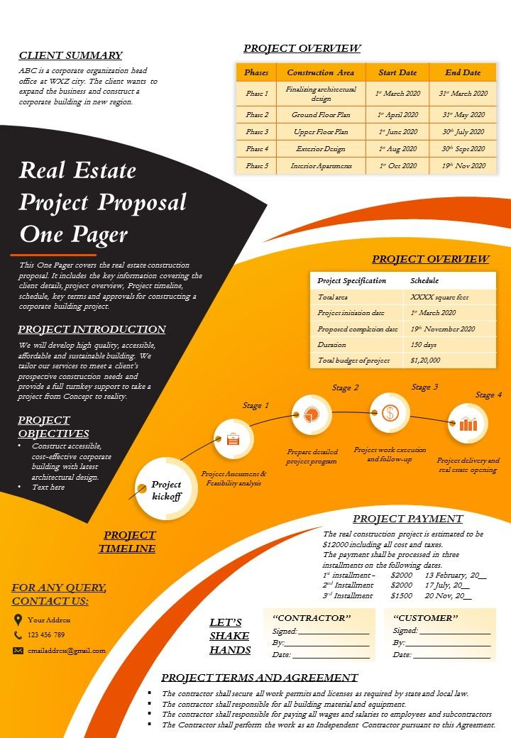 Real Estate Project Proposal One Pager Presentation Report Infographic PPT PDF Document