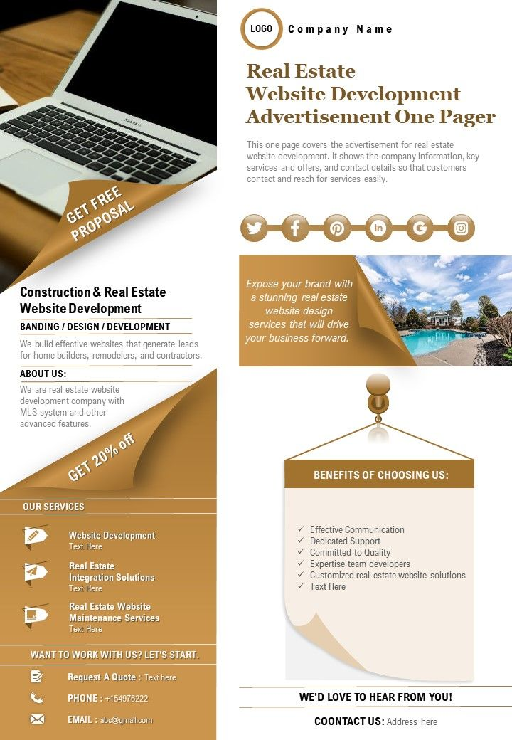 Real Estate Website Development Advertisement One Pager Presentation Report Infographic PPT PDF Document