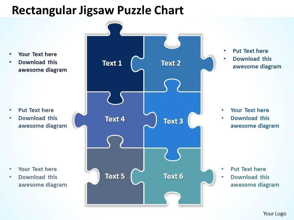 Rectangular Jigsaw Puzzle Chart Powerpoint Templates Ppt Presentation Slides 0812 Slide01
