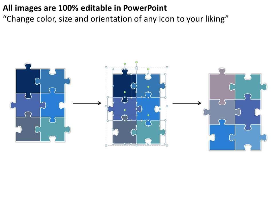 Rectangular Jigsaw Puzzle Chart Powerpoint Templates Ppt