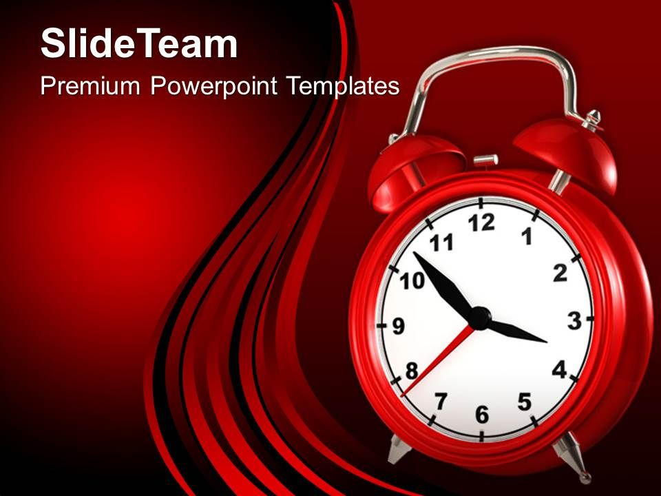red alarm clock deadline powerpoint templates ppt themes