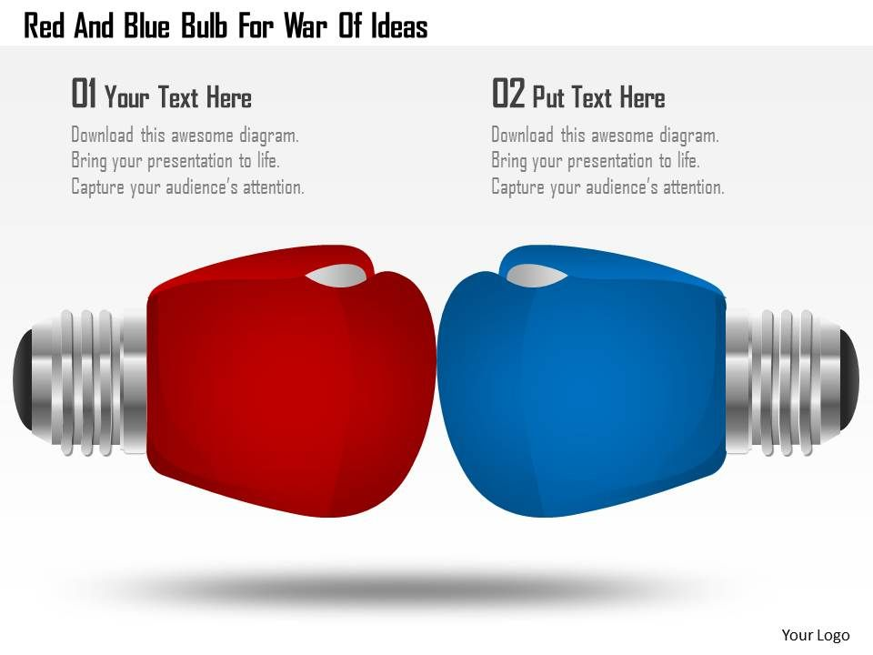 Red And Blue Bulb For War Of Ideas Powerpoint Template
