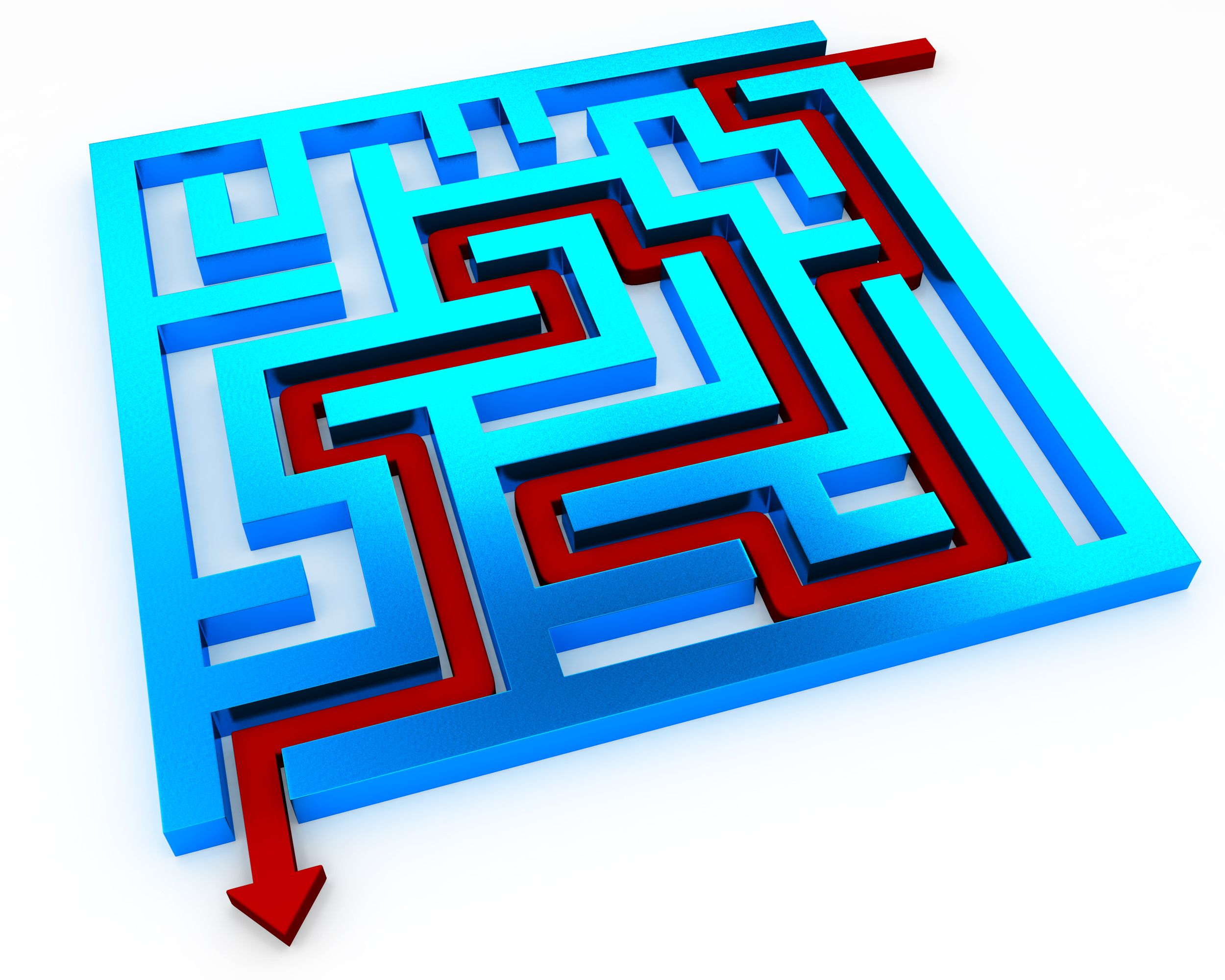 red_solution_path_with_square_maze_with_glossy_finish_for_problem_solving_stock_photo_Slide01