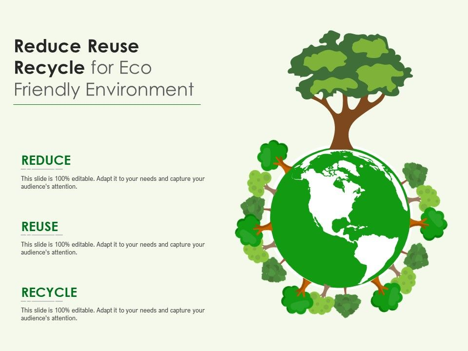 Reduce Reuse Recycle For Eco Friendly Environment