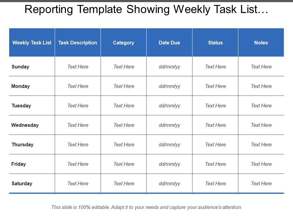 reporting_template_showing_weekly_task_list_description_category_status_notes_Slide01
