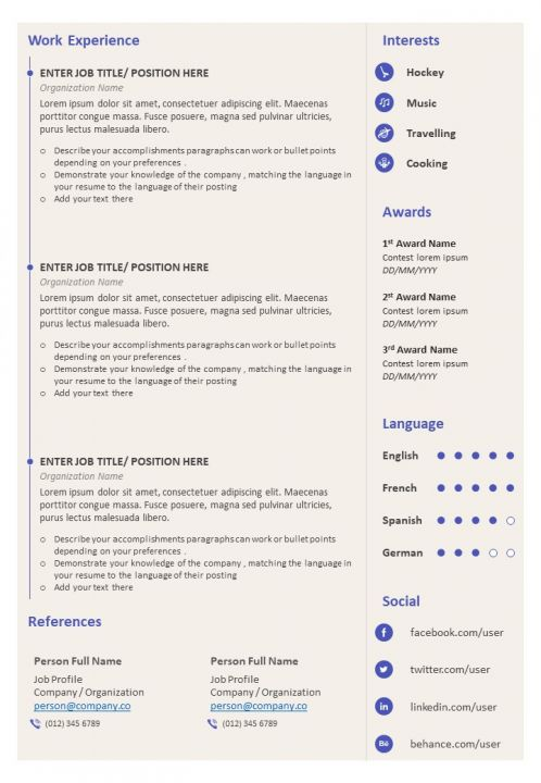 Resume Bio Data Format With Job History Powerpoint Presentation Pictures Ppt Slide Template Ppt Examples Professional