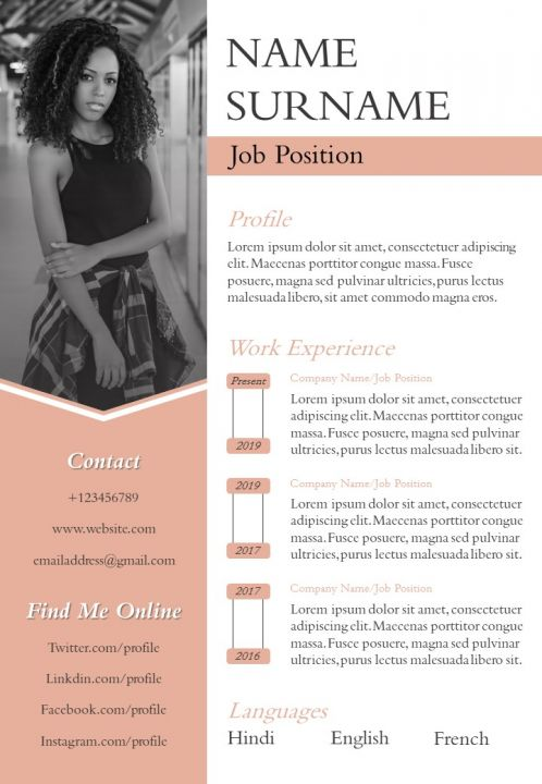 Resume Design Infographic CV Powerpoint Template