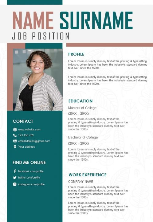 Resume Format Example With Contact Details