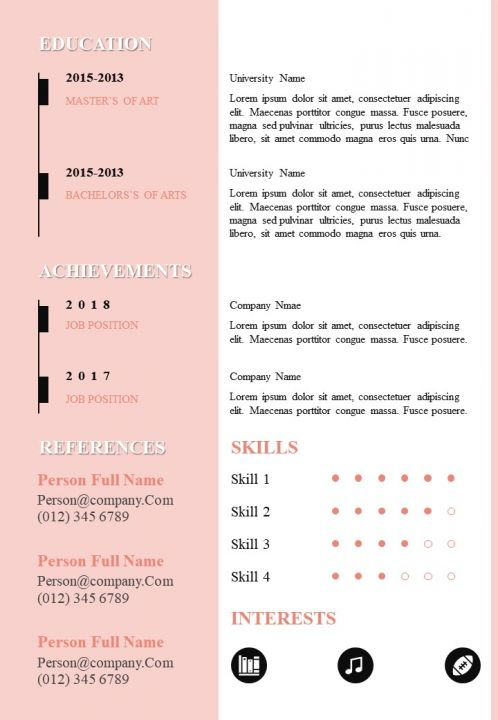Resume Sample Editable Cv A4 Design Template For Self Introduction Powerpoint Slides Diagrams Themes For Ppt Presentations Graphic Ideas