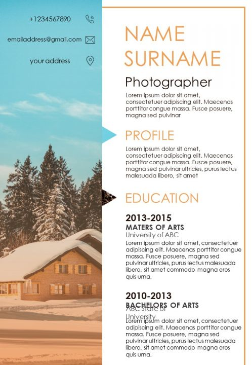 Resume Sample Template For Photographer