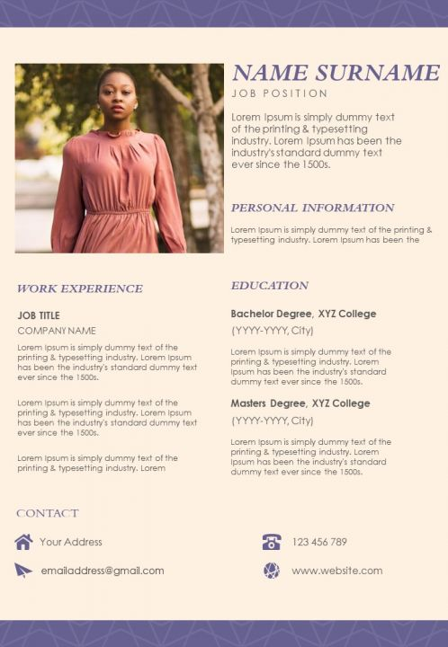 Resume Sample With Personal Information