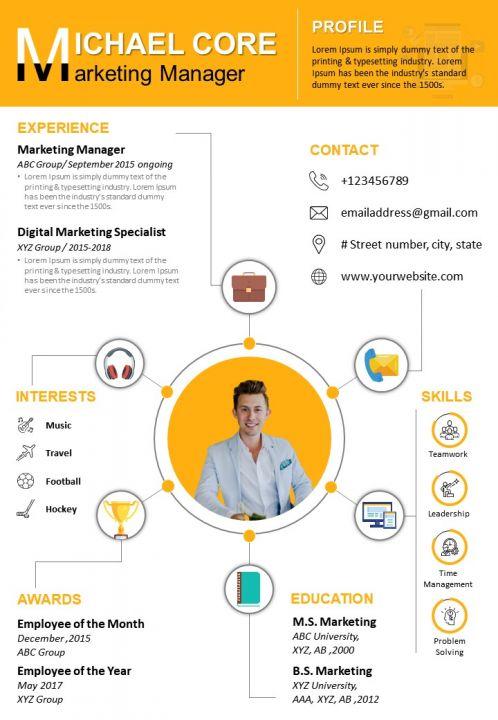 Resume Template Marketing Manager Curriculum Vitae Sample Ppt