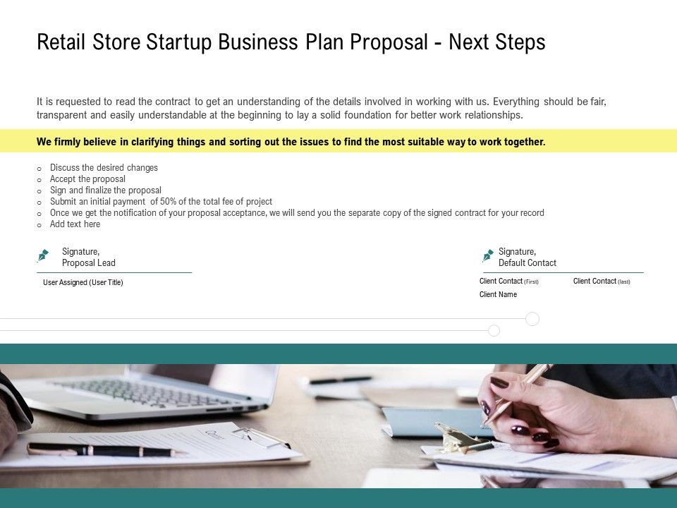 Retail Store Startup Business Plan Proposal Next Steps Ppt Powerpoint Example
