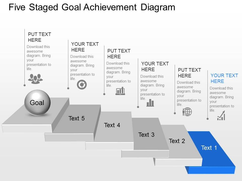 Rf five staged goal achievement diagram powerpoint for Setting up a powerpoint template