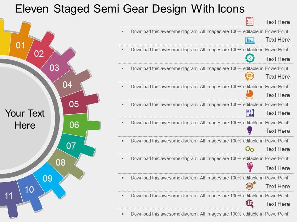 rh_eleven_staged_semi_gear_design_with_icons_flat_powerpoint_design_Slide01