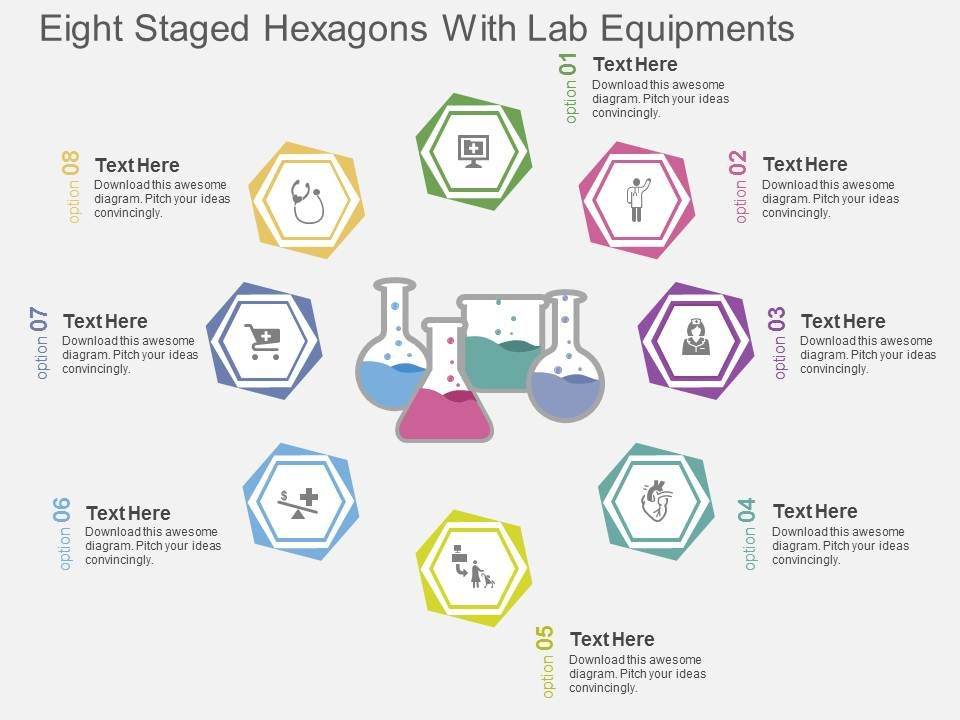 ri_eight_staged_hexagons_with_lab_equipments_flat_powerpoint_design_Slide01