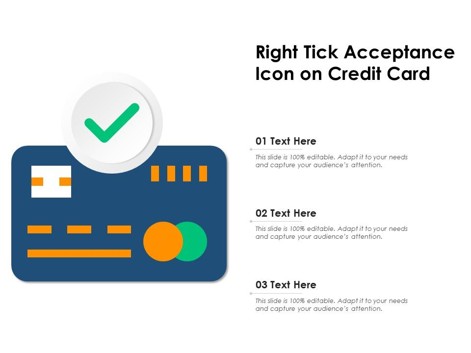 Right Tick Acceptance Icon On Credit Card