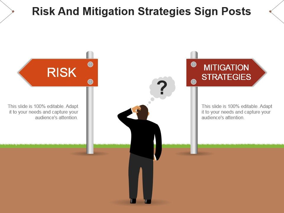 risk and mitigation strategies sign posts powerpoint templates, Presentation templates