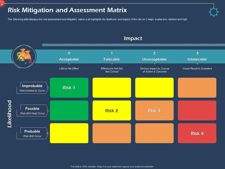 Risk Mitigation And Assessment Matrix Intolerable Ppt Presentation Examples