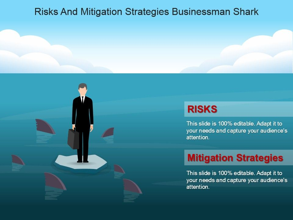 Risks And Mitigation Strategies Businessman Shark Powerpoint