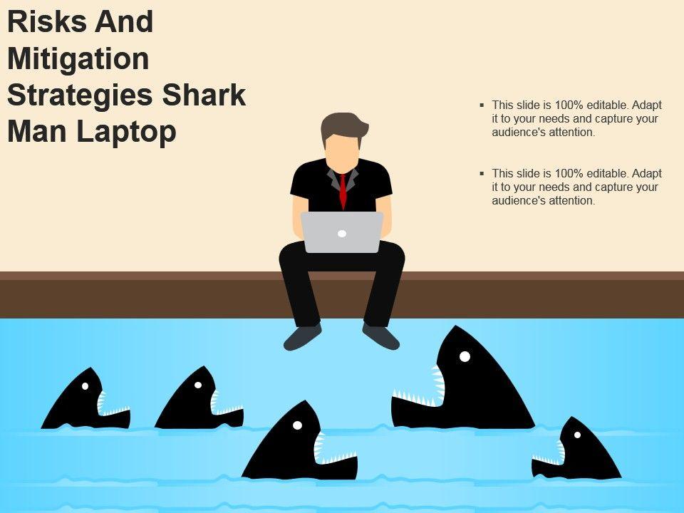 Risks And Mitigation Strategies Shark Man Laptop Powerpoint Slides