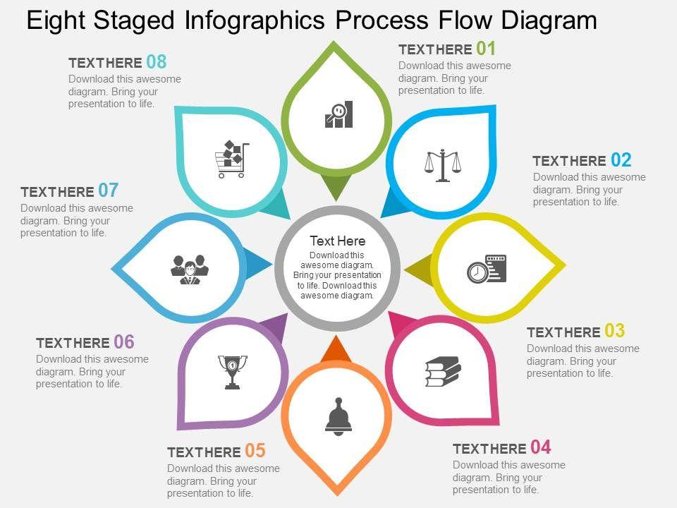 rj eight staged infographics process flow diagram flat. Black Bedroom Furniture Sets. Home Design Ideas
