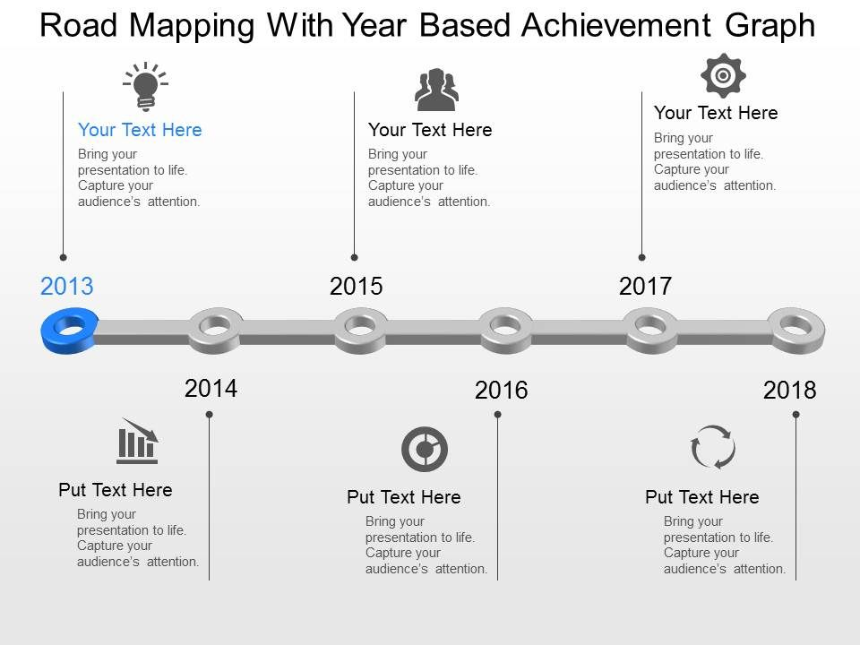 rm road mapping with year based achievement graph powerpoint, Achievement Presentation Template, Presentation templates