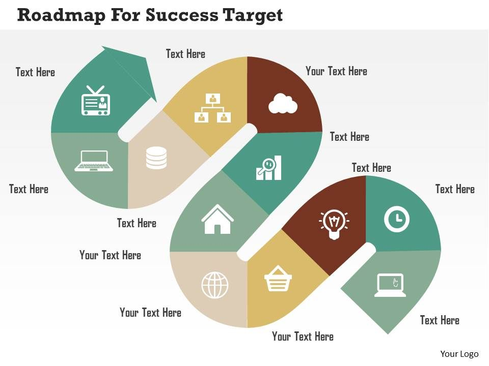Roadmap For Success Target Flat Powerpoint Design