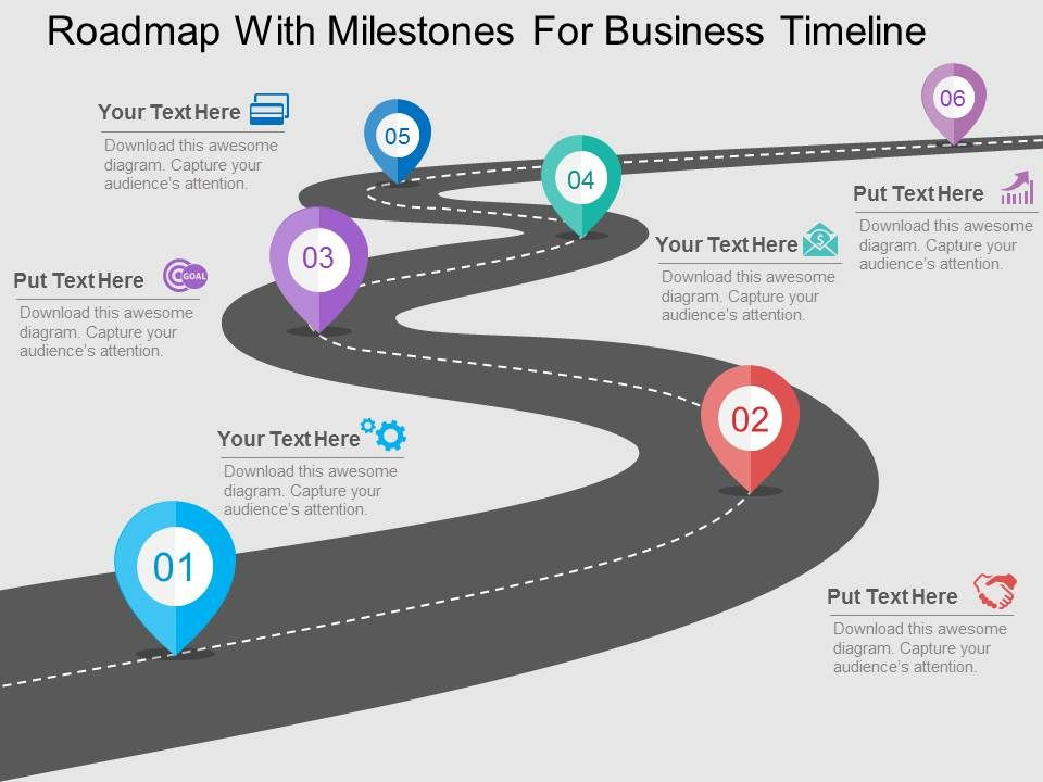 milestone chart templates powerpoint - roadmap with milestones for business timeline flat