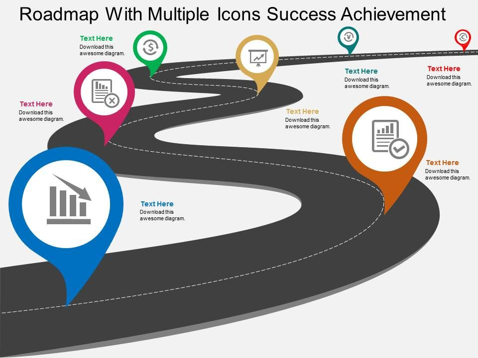 roadmap_with_multiple_icons_success_achievement_flat_powerpoint_design_Slide01