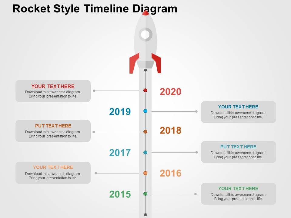 rocket style timeline diagram flat powerpoint design | powerpoint, Presentation templates