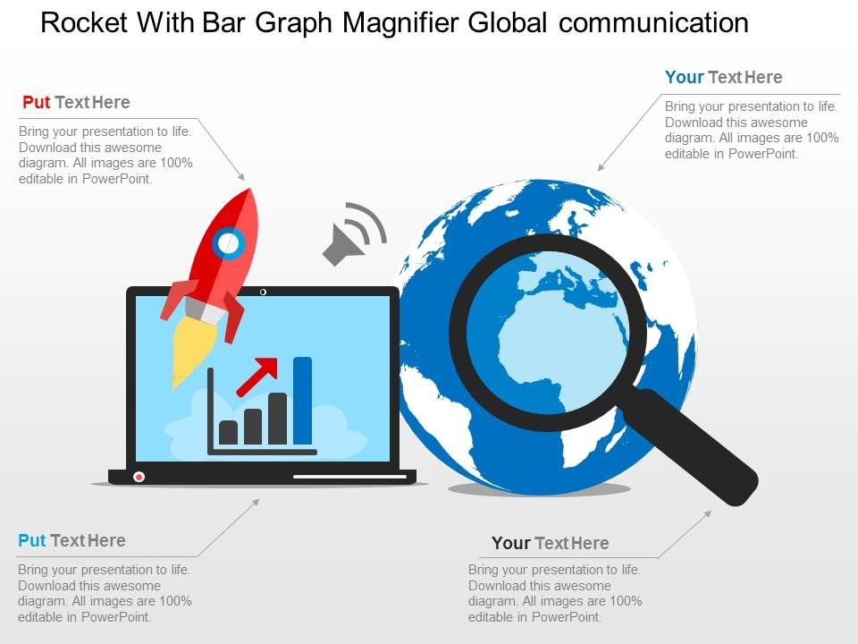 Rocket With Bar Graph Magnifier Global Communication Ppt
