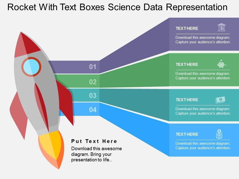 rocket with text boxes science data representation flat powerpoint, Presentation templates