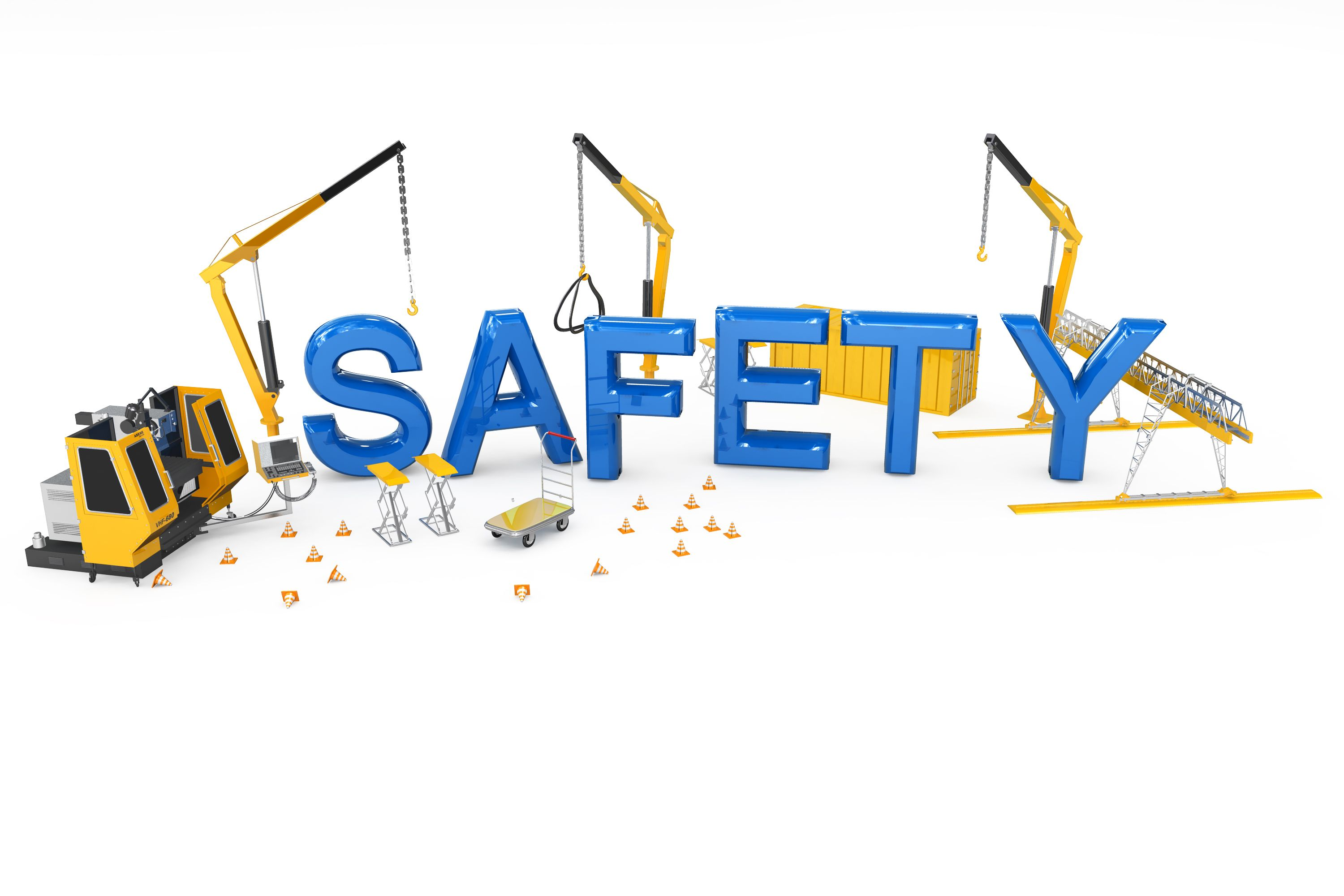 Safety construction powerpoint templates and powerpoint backgrounds safety word with three cranes in toneelgroepblik Images