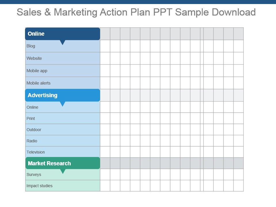 Sales and marketing action plan ppt sample download for Sales and marketing plan template free download