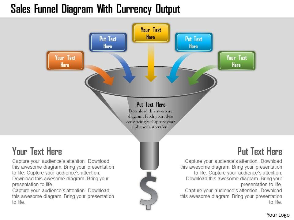 Sales Funnel Diagram With Currency Output Powerpoint Template