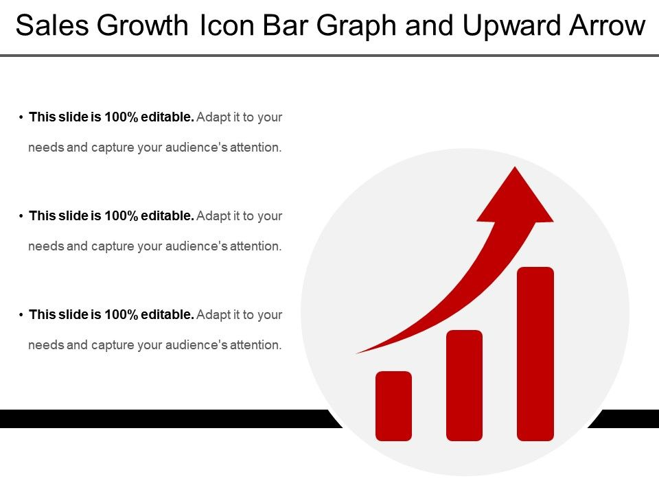Sales Growth Icon Bar Graph And Upward Arrow