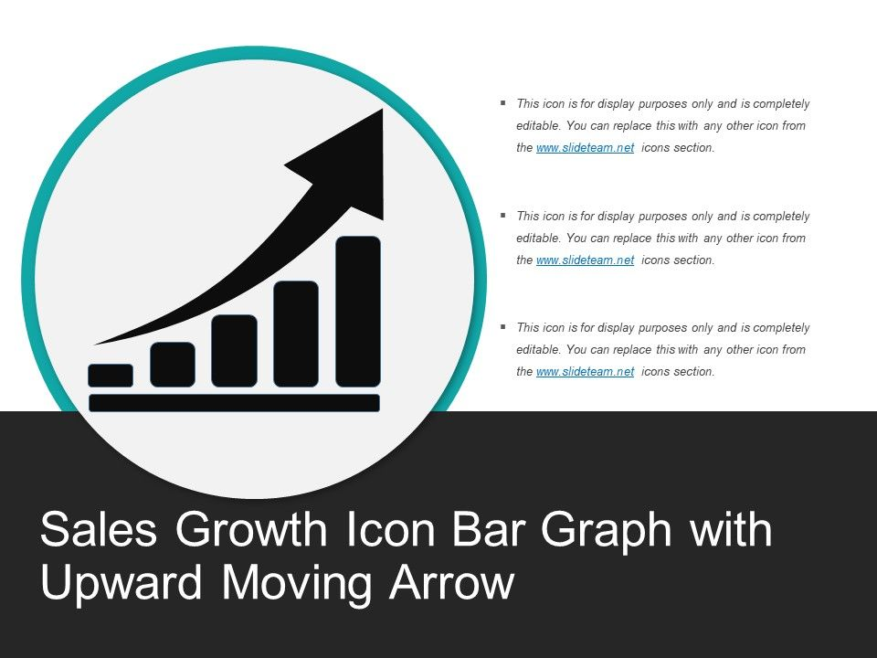 Sales Growth Icon Bar Graph With Upward Moving Arrow